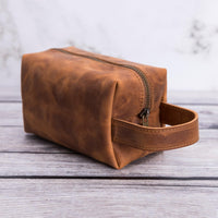 Eve Toiletry / Make Up Leather Bag (Medium) - TAN - saracleather
