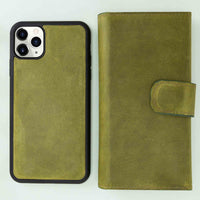 "Santa Magnetic Detachable Leather Tri-Fold Wallet Case for iPhone 11 Pro Max (6.5"") - GREEN - saracleather"