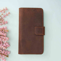 "Liluri CC Magnetic Detachable Leather Wallet Case for iPhone 11 Pro (5.8"") - BROWN - saracleather"