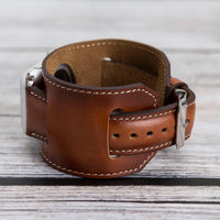Cuff Strap: Full Grain Leather Band for Apple Watch 38mm / 40mm - EFFECT BROWN - saracleather