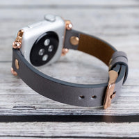 Ferro Strap - Full Grain Leather Band for Apple Watch 38mm / 40mm - GRAY - saracleather