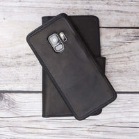 Liluri Magnetic Detachable Leather Wallet Case for Samsung Galaxy S9 Plus - BLACK - saracleather