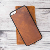 Liluri Magnetic Detachable Leather Wallet Case for iPhone 6 Plus / 6S Plus - TAN - saracleather