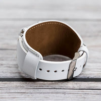 Cuff Strap: Full Grain Leather Band for Apple Watch 38mm / 40mm - WHITE - saracleather