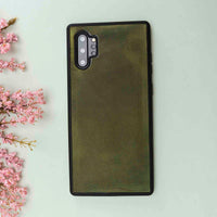 Santa Magnetic Detachable Leather Tri-Fold Wallet Case for Samsung Galaxy Note 10 / Note 10 Plus 5G - GREEN - saracleather