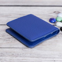 Aaron Leather Men's Bifold Wallet - BLUE - saracleather