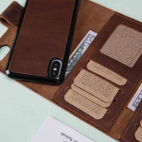 "Santa Magnetic Detachable Leather Tri-Fold Wallet Case for iPhone X / XS (5.8"") - BROWN - saracleather"