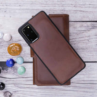"Santa Magnetic Detachable Leather Tri-Fold Wallet Case for Samsung Galaxy S20 Plus (6.7"") - BROWN - saracleather"