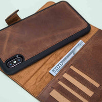 "Magic Magnetic Detachable Leather Wallet Case for iPhone XS Max (6.5"") - BROWN - saracleather"