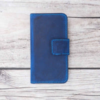 Liluri Magnetic Detachable Leather Wallet Case for iPhone SE / 5S / 5 - BLUE - saracleather