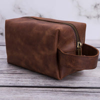 Eve Toiletry / Make Up Leather Bag (Medium) - BROWN - saracleather