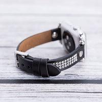 Ferro Stony Strap - Full Grain Leather Band for Apple Watch 38mm / 40mm - BLACK - saracleather