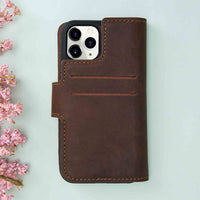 "Liluri CC Magnetic Detachable Leather Wallet Case for iPhone 11 Pro Max (6.5"") - BROWN - saracleather"