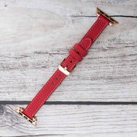 Ferro Strap - Full Grain Leather Band for Apple Watch 38mm / 40mm - RED - saracleather