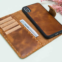 "Adel Magnetic Detachable Leather Wallet Case for iPhone X / XS (5.8"") - TAN - saracleather"