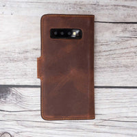 Liluri Magnetic Detachable Leather Wallet Case for Samsung Galaxy S10 - BROWN - saracleather