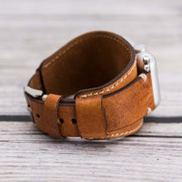 Cuff Strap: Full Grain Leather Band for Apple Watch 38mm / 40mm - CAMEL - saracleather