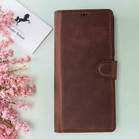 Magic Magnetic Detachable Leather Wallet Case for Samsung Galaxy Note 10 - BROWN - saracleather