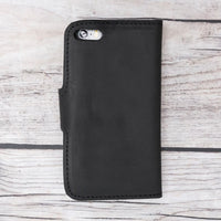 Liluri Magnetic Detachable Leather Wallet Case for iPhone SE / 5S / 5 - BLACK - saracleather
