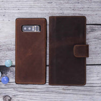 Liluri Magnetic Detachable Leather Wallet Case for Samsung Galaxy Note 8 - BROWN - saracleather