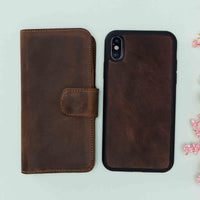 "Liluri CC Magnetic Detachable Leather Wallet Case for iPhone XS Max (6.5"") - BROWN - saracleather"