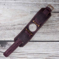 Cuff Strap: Full Grain Leather Band for Apple Watch 38mm / 40mm - PURPLE - saracleather