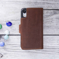 "Liluri Magnetic Detachable Leather Wallet Case for iPhone XR (6.1"") - BROWN - saracleather"