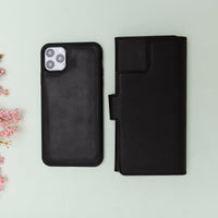 "Santa Magnetic Detachable Leather Tri-Fold Wallet Case for iPhone 11 Pro Max (6.5"") - BLACK - saracleather"