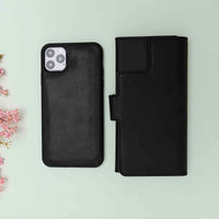 "Santa Magnetic Detachable Leather Tri-Fold Wallet Case for iPhone 11 Pro (5.8"") - BLACK - saracleather"