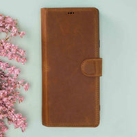 "Magic Magnetic Detachable Leather Wallet Case for iPhone XS Max (6.5"") - TAN - saracleather"