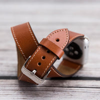Double Tour Strap: Full Grain Leather Band for Apple Watch 38mm / 40mm - TAN - saracleather