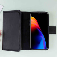 "Santa Magnetic Detachable Leather Tri-Fold Wallet Case for iPhone X / XS (5.8"") - BLACK - saracleather"
