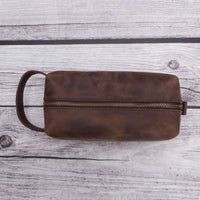 Eve Toiletry / Make Up Leather Bag (X Large) - BROWN - saracleather