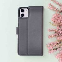 "Magic Magnetic Detachable Leather Wallet Case for iPhone 11 (6.1"") - EFFECT GRAY - saracleather"