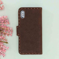"Adel Magnetic Detachable Leather Wallet Case for iPhone X / XS (5.8"") - BROWN - saracleather"