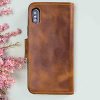 "Liluri Magnetic Detachable Leather Wallet Case for iPhone XS Max (6.5"") - TAN - saracleather"