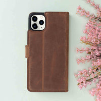 "Magic Magnetic Detachable Leather Wallet Case for iPhone 11 Pro (5.8"") - BROWN - saracleather"