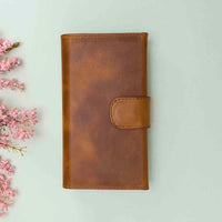 "Santa Magnetic Detachable Leather Tri-Fold Wallet Case for iPhone 11 (6.1"") - TAN - saracleather"