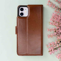 "Magic Magnetic Detachable Leather Wallet Case for iPhone 11 (6.1"") - EFFECT BROWN - saracleather"