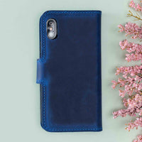 "Liluri Magnetic Detachable Leather Wallet Case for iPhone XS Max (6.5"") - BLUE - saracleather"