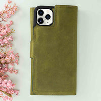 "Santa Magnetic Detachable Leather Tri-Fold Wallet Case for iPhone 11 Pro (5.8"") - GREEN - saracleather"