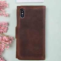 "Santa Magnetic Detachable Leather Tri-Fold Wallet Case for iPhone XS Max (6.5"") - BROWN - saracleather"
