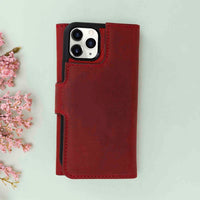 "Santa Magnetic Detachable Leather Tri-Fold Wallet Case for iPhone 11 Pro (5.8"") - RED - saracleather"