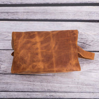 Eve Toiletry / Make Up Leather Bag (X Large) - TAN - saracleather