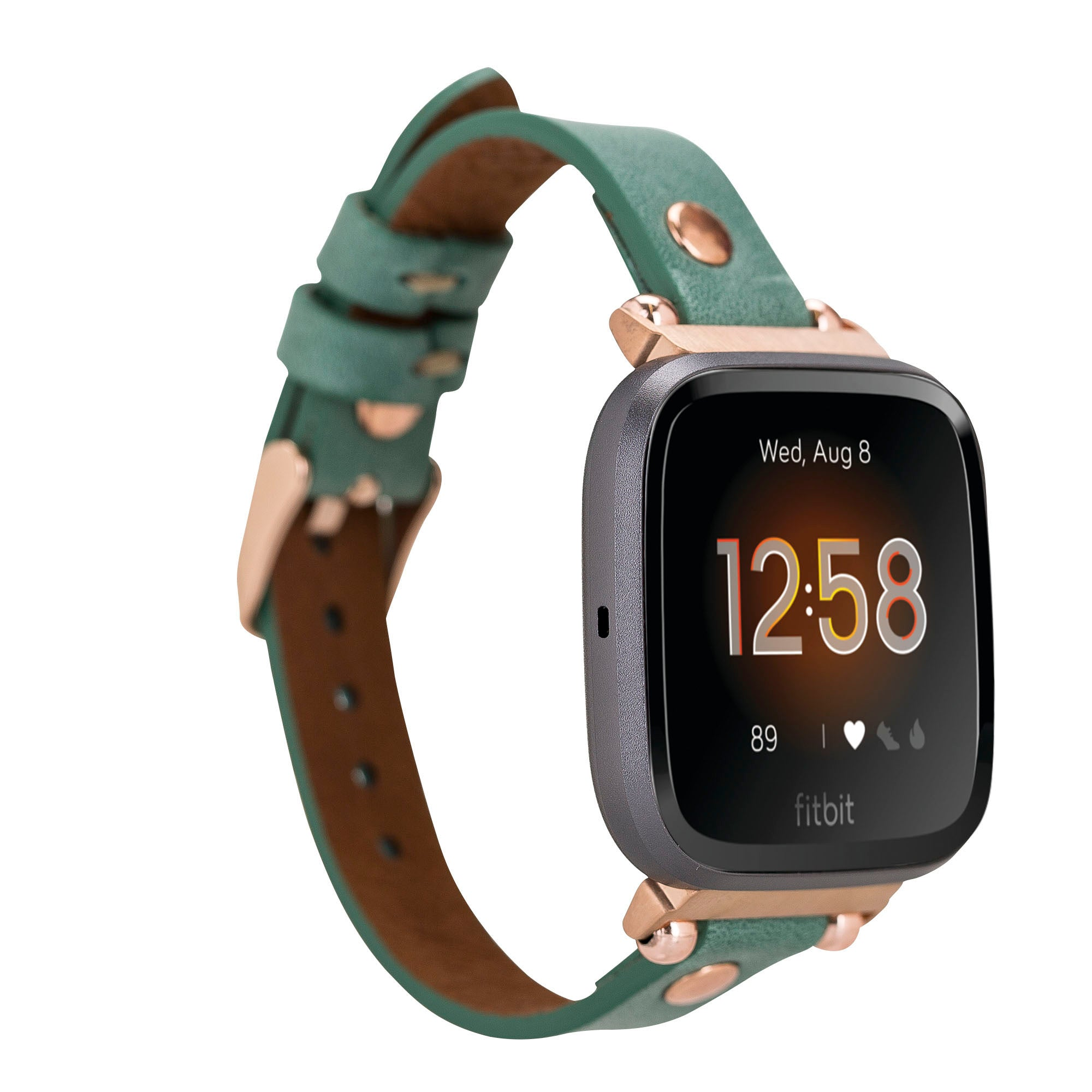Ferro Strap - Full Grain Leather Band for Fitbit Versa 2 / Fitbit Versa 1 / Fitbit Versa Lite - GREEN - saracleather
