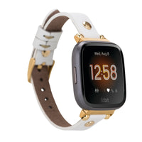 Ferro Strap - Full Grain Leather Band for Fitbit Versa 2 / Fitbit Versa 1 / Fitbit Versa Lite - WHITE - saracleather
