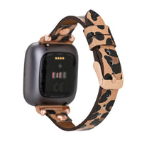 Ferro Strap - Full Grain Leather Band for Fitbit Versa 2 / Fitbit Versa 1 / Fitbit Versa Lite - LEOPARD PATTERNED - saracleather