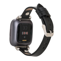 Ferro Strap - Full Grain Leather Band for Fitbit Versa 2 / Fitbit Versa 1 / Fitbit Versa Lite - BLACK - saracleather