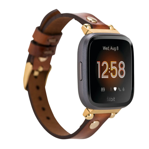 Ferro Strap - Full Grain Leather Band for Fitbit Versa 2 / Fitbit Versa 1 / Fitbit Versa Lite - EFFECT BROWN - saracleather