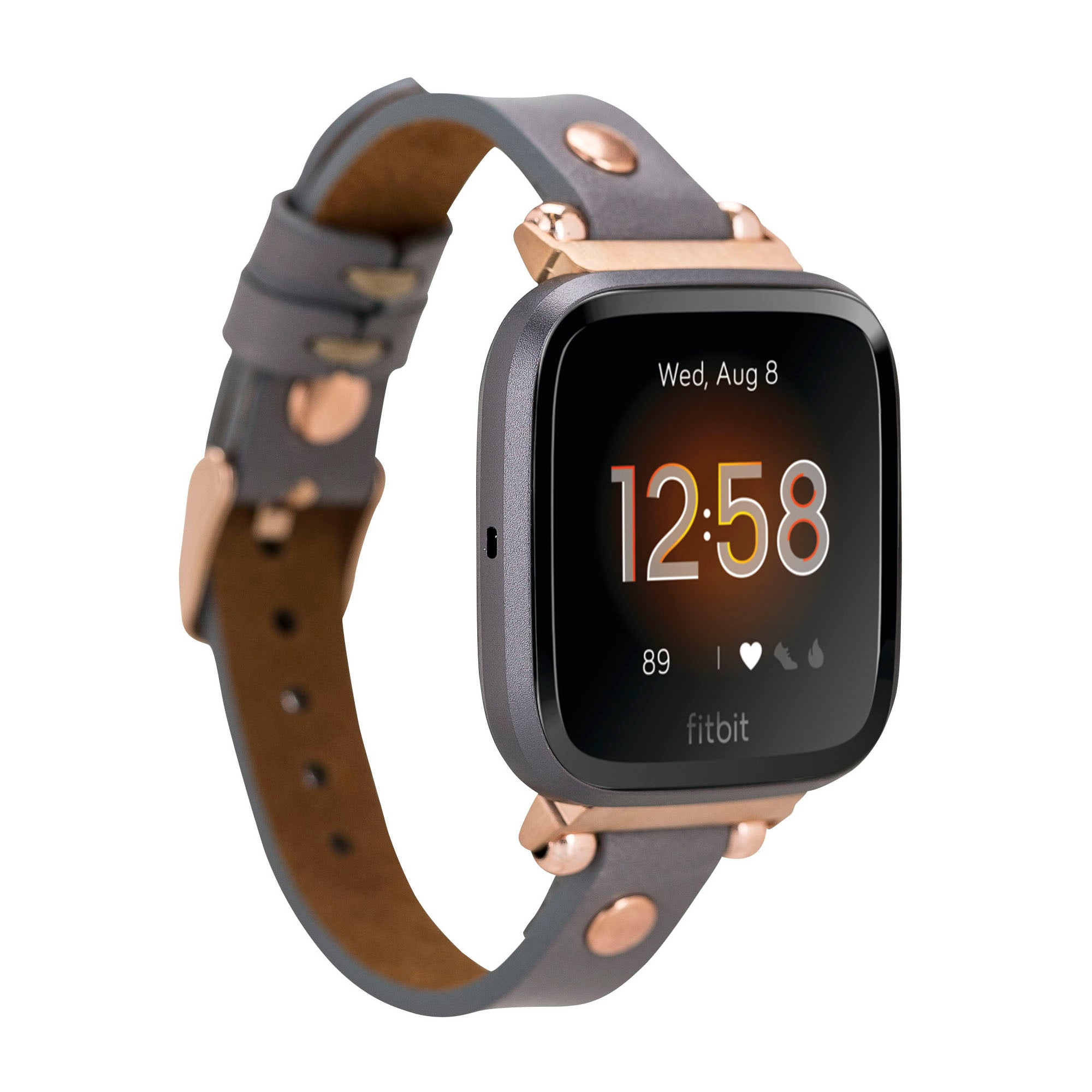 Ferro Strap - Full Grain Leather Band for Fitbit Versa 2 / Fitbit Versa 1 / Fitbit Versa Lite - GRAY - saracleather